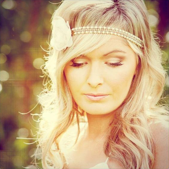 Vintage bride hair and makeup – pearls headband Gold Coast